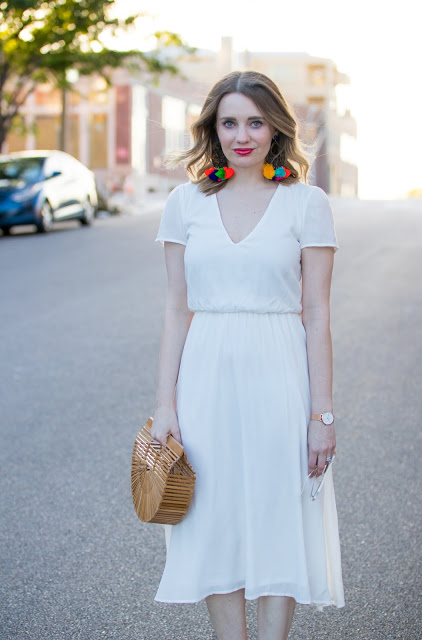 White Wayf Dress + Festive Earrings + Cult Gaia Bag