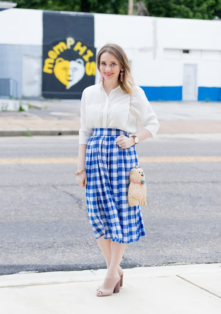 Shein Gingham Skirt Summer Look with Lisi Lerch Tassel Earrings