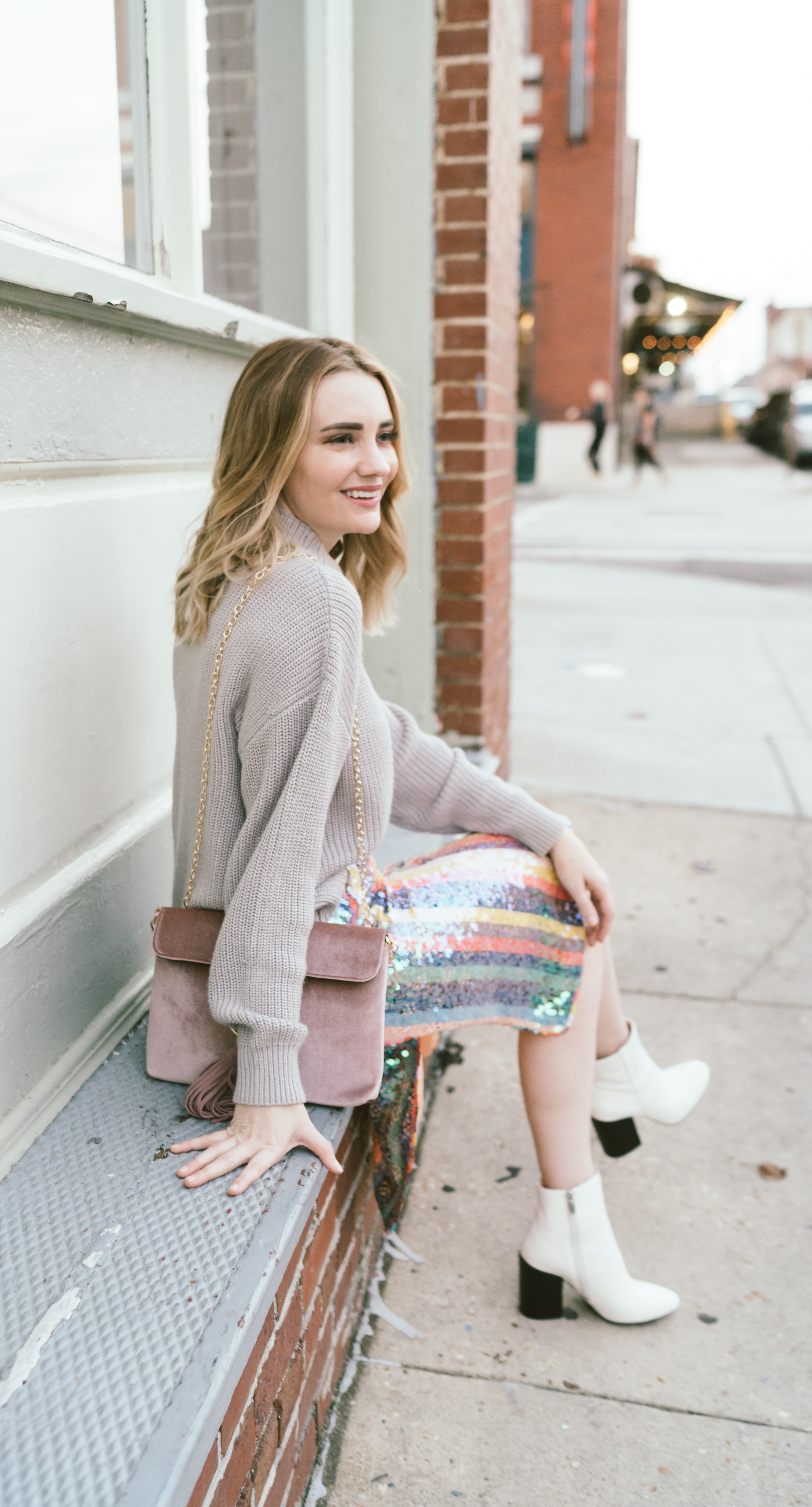 See how this Memphis Fashion Blogger styles a Anthropologie Sequin Rainbow Skirt for Fall. This piece is gorgeous and easy to fit into your wardrobe.
